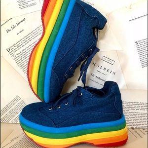 Jeffrey Campbell Denim Rainbow Platform  Sneakers
